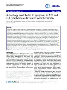 Autophagy contributes to apoptosis in A20 and EL4 lymphoma cells ...