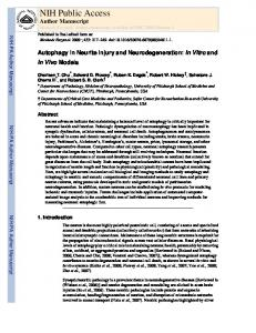 Autophagy in Neurite Injury and Neurodegeneration: In Vitro and In ...
