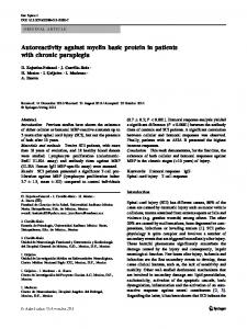 Autoreactivity against myelin basic protein in patients with chronic