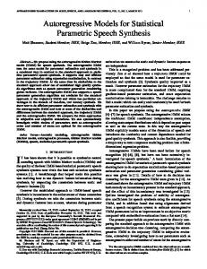 Autoregressive Models for Statistical Parametric Speech Synthesis