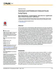 Autotaxin and Endotoxin-Induced Acute Lung Injury - PLOS