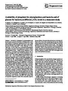 Availability of phosphate for phytoplankton and ... - Biogeosciences