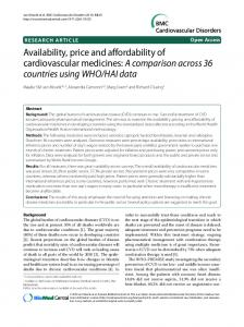 Availability, price and affordability of cardiovascular medicines: A