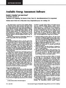 Available energy assessment software - Wiley Online Library