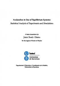 Avalanches in Out of Equilibrium Systems ...
