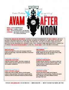 AVAM in the Afternoon Flyer