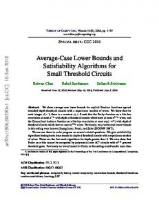 Average-Case Lower Bounds and Satisfiability Algorithms for