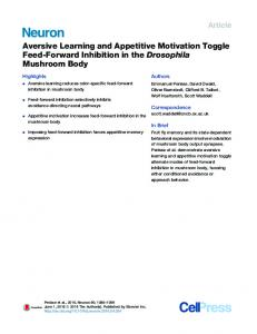 Aversive Learning and Appetitive Motivation Toggle Feed ... - Cell Press