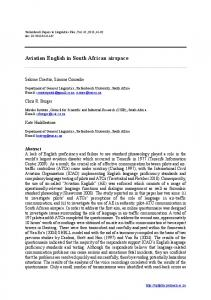 Aviation English in South African airspace - African Journals Online