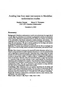 Avoiding bias from weak instruments in Mendelian randomization ...
