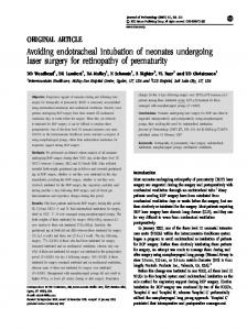 Avoiding endotracheal intubation of neonates undergoing ... - Nature