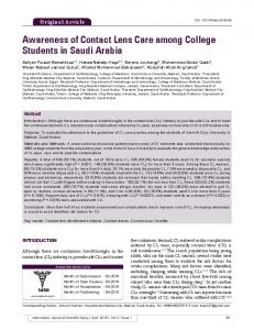 Awareness of Contact Lens Care among College Students in Saudi ...