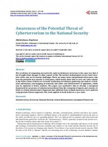 Awareness of the Potential Threat of Cyberterrorism to the National ...