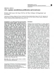 AXL regulates mesothelioma proliferation and invasiveness - Nature