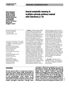 Axonal metabolic recovery in multiple sclerosis ... - Springer Link