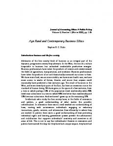 Ayn Rand and Contemporary Business Ethics - SSRN