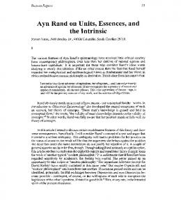Ayn Rand on Units, Essences, and the Intrinsic - Reason Papers