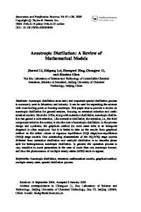 Azeotropic Distillation: A Review of Mathematical ...