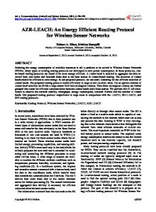 AZR-LEACH: An Energy Efficient Routing Protocol for Wireless Sensor