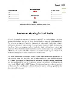 B Fresh-water Modeling for Saudi Arabia