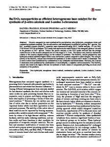 Ba/ZrO2nanoparticles as efficient heterogeneous base catalyst for the ...