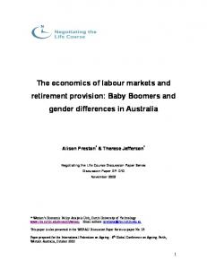 Baby Boomers and Gender Differences in Australia - Negotiating the ...