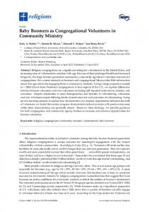 Baby Boomers as Congregational Volunteers in Community ... - MDPI