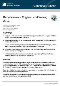 Baby Names - Office for National Statistics