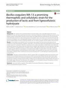 Bacillus coagulans MA-13: a promising ... - Chalmers Publication Library
