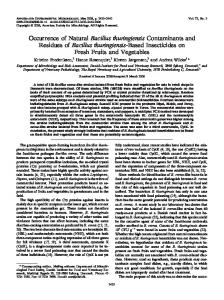 Bacillus thuringiensis - Applied and Environmental Microbiology