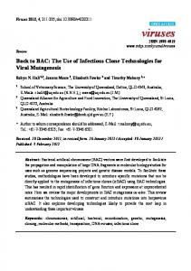 Back to BAC: The Use of Infectious Clone Technologies ... - CiteSeerX