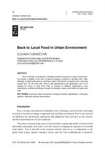 Back to Local Food in Urban Environment