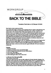 BACK TO THE BIBLE