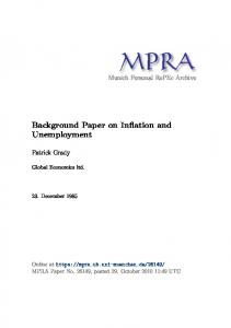 Background Paper on Inflation and Unemployment - Munich Personal