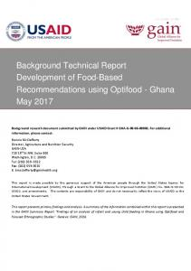 Background Technical Report Development of Food