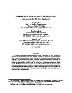 Backorder Minimization in Multiproduct Assemble-to ... - CiteSeerX