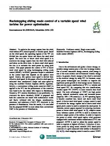 Backstepping sliding mode control of a variable speed ... - CyberLeninka