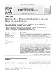 Bacteremia due to Achromobacter xylosoxidans in neonates: clinical ...