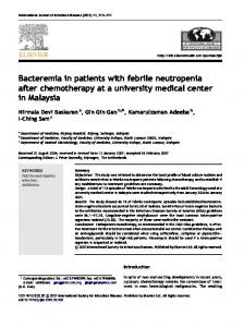 Bacteremia in patients with febrile neutropenia after chemotherapy at ...