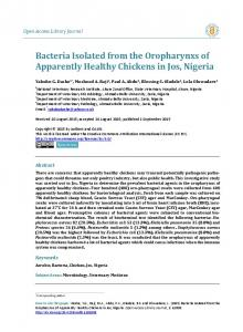 Bacteria Isolated from the Oropharynxs of Apparently Healthy ... - OALib