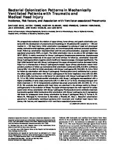 Bacterial Colonization Patterns in Mechanically ... - ATS Journals