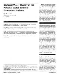Bacterial Water Quality in the Personal Water Bottles of Elementary ...