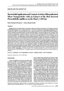 Bactericidal Application and Cytotoxic Activity of Biosynthesized Silver ...