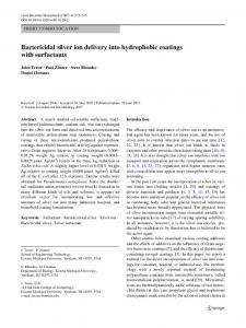 Bactericidal silver ion delivery into hydrophobic coatings with surfactants