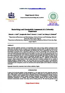 Bacteriology and Genotoxicity Assessment of a University ... - iMedpub