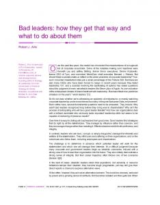 Bad leaders - Ingenta Connect