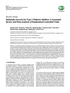 Baduanjin Exercise for Type 2 Diabetes Mellitus: A Systematic Review ...