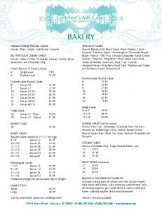 BAKERY - Gretchen's ABS Cakes