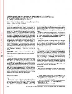 Bakery products lower serum cholesterol ...
