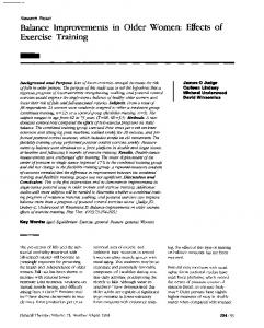 Balance Improvements in Older Women: Effects of Exercise Training